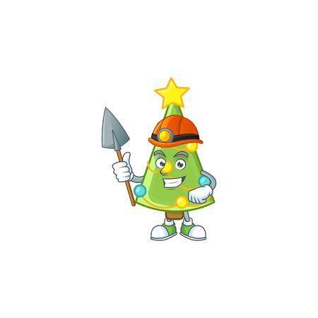 Cool Miner christmas tree decoration cartoon mascot design style. Vector illustration