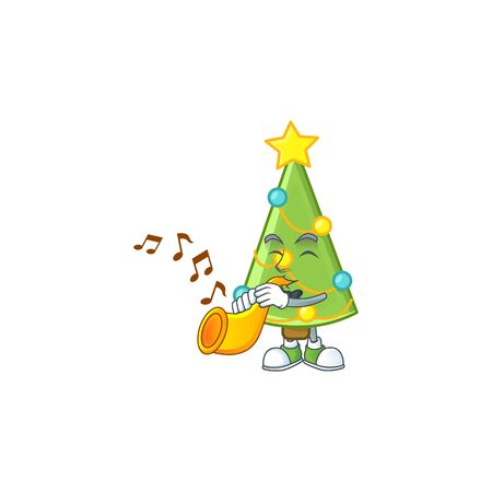 Super cool christmas tree decoration cartoon character performance with trumpet. Vector illustration