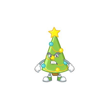 Christmas tree decoration cartoon character style with angry face. Vector illustration