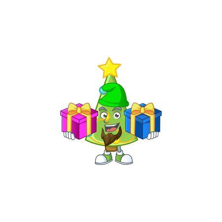 Super cute christmas tree decoration cartoon design with Christmas gifts. Vector illustration Foto de archivo - 134722002
