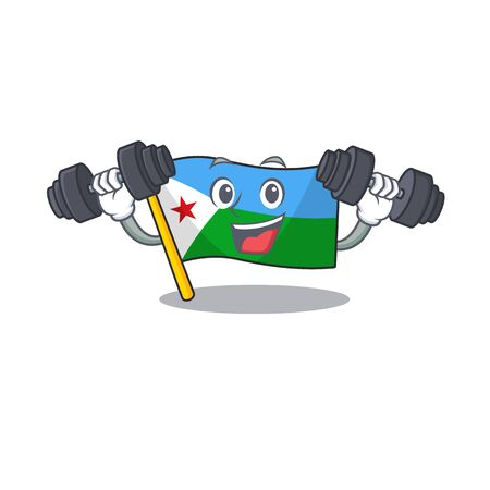 Fitness exercise flag djibouti cartoon character holding barbells Illustration