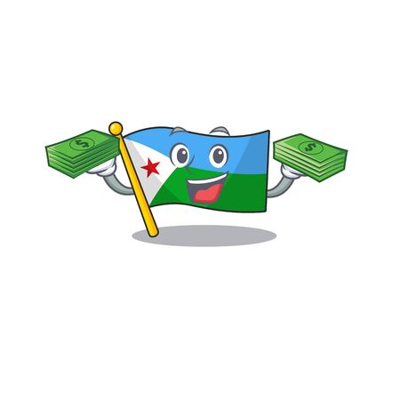 Confident smiley flag djibouti character with money bag