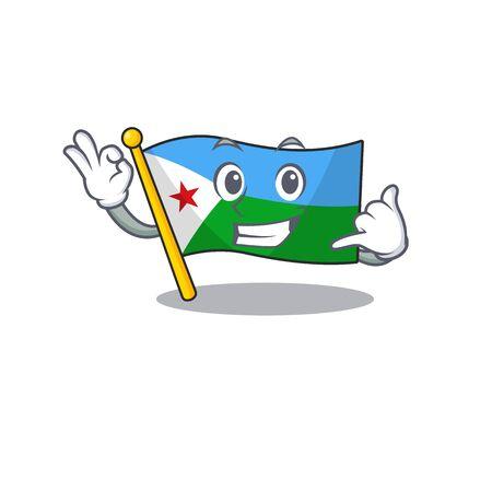 Call me cute flag djibouti mascot cartoon style Ilustrace