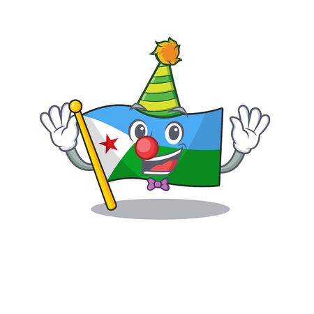 Cute Clown flag djibouti placed on cartoon character mascot design