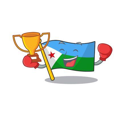 Super cool Boxing winner flag djibouti in mascot cartoon style Archivio Fotografico - 134746202