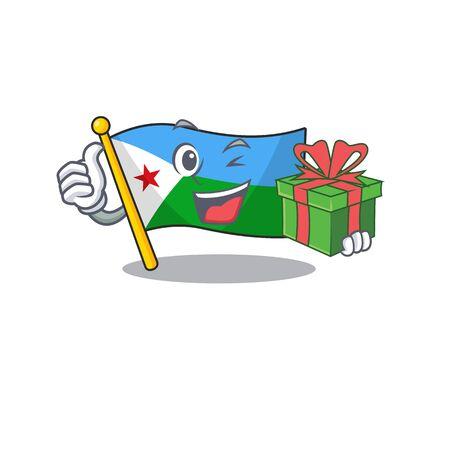 mascot cartoon of happy flag djibouti with gift box