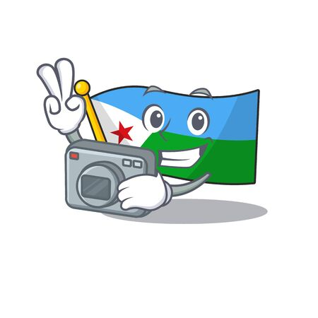 a professional Photographer flag djibouti cartoon character with a camera Imagens - 134746209