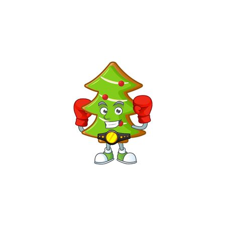 Funny Boxing trees cookies cartoon character style. Vector illustration Archivio Fotografico - 134732153