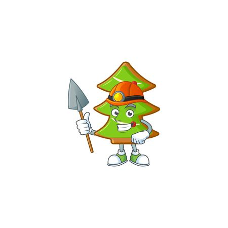 Cool Miner trees cookies cartoon mascot design style. Vector illustration