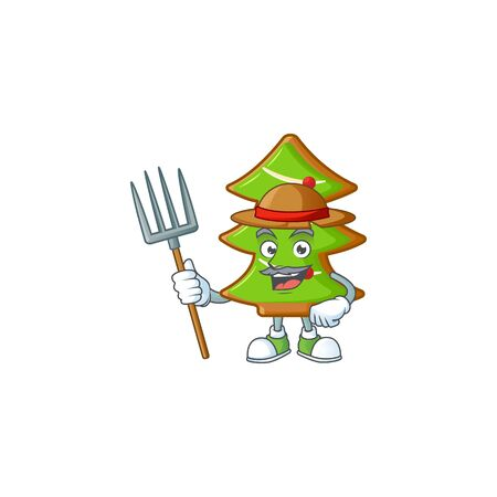 Farmer trees cookies cartoon character with hat and tools. Vector illustration Stock Illustratie