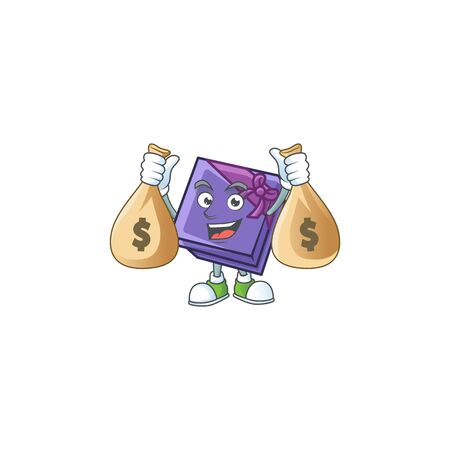 Cute purple gift box cartoon character smiley with money bag. Vector illustration 向量圖像