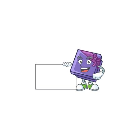 Purple gift box cute cartoon character with a board. Vector illustration