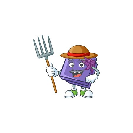 Farmer purple gift box cartoon character with hat and tools. Vector illustration Stock Illustratie