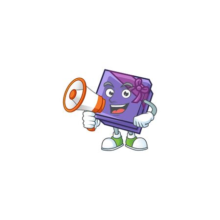 Funny cartoon style of purple gift box with megaphone. Vector illustration