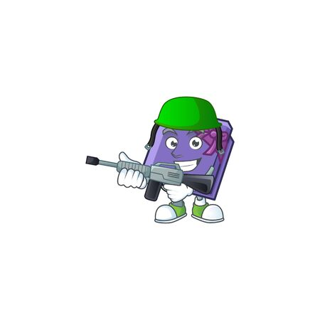 A cartoon style of purple gift box Army with machine gun. Vector illustration 向量圖像