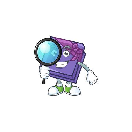 One eye purple gift box Detective cartoon character style. Vector illustration 向量圖像