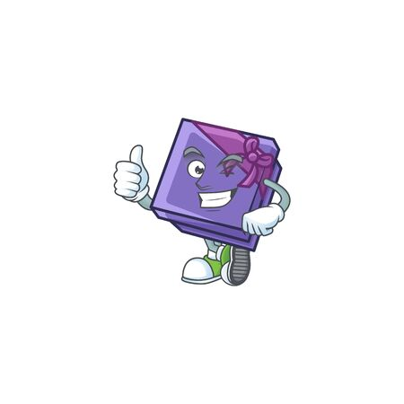 Picture of purple gift box making Thumbs up gesture. Vector illustration