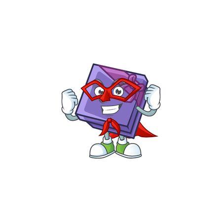A cartoon of purple gift box wearing costume of Super hero. Vector illustration