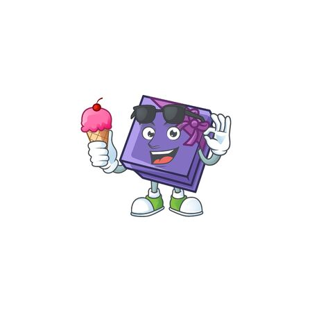 Mascot character featuring purple gift box with ice cream. Vector illustration 向量圖像