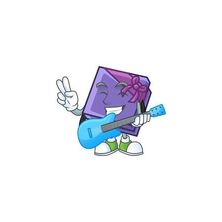 Super cool purple gift box cartoon character performance with guitar. Vector illustration Иллюстрация