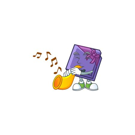 Super cool purple gift box cartoon character performance with trumpet. Vector illustration
