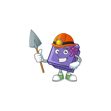 Cool Miner purple gift box cartoon mascot design style. Vector illustration