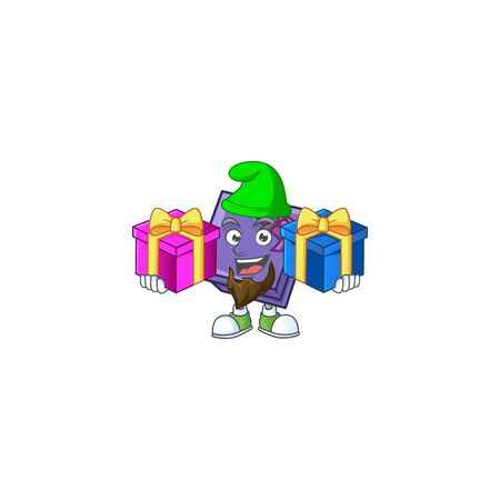 Super cute purple gift box cartoon design with Christmas gifts. Vector illustration