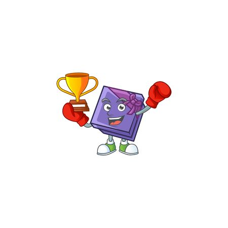 Super cool Boxing winner purple gift box in mascot cartoon style. Vector illustration Archivio Fotografico - 134765395
