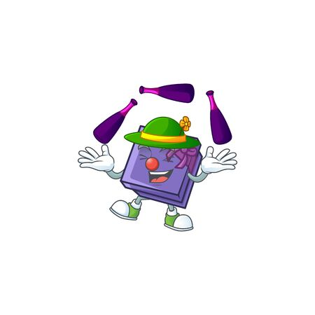 Super cool Juggling purple gift box mascot cartoon style. Vector illustration Ilustrace