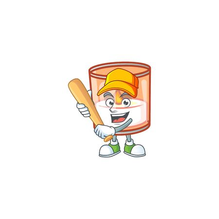 Funny smiling candle in glass cartoon mascot playing baseball Illustration