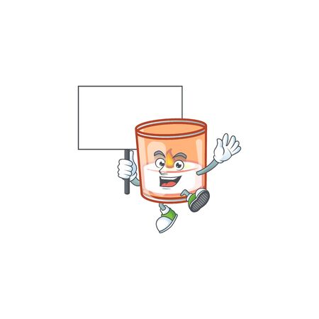 Smiling candle in glass cute cartoon style bring board. Vector illustration 向量圖像
