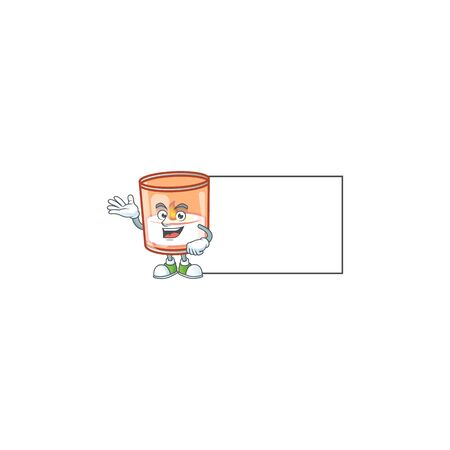 Candle in glass with board cartoon character style. Vector illustration 向量圖像