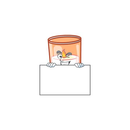 Grinning candle in glass cartoon character style hides behind a board. Vector illustration 向量圖像