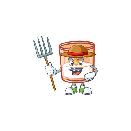 Farmer candle in glass cartoon character with hat and tools. Vector illustration