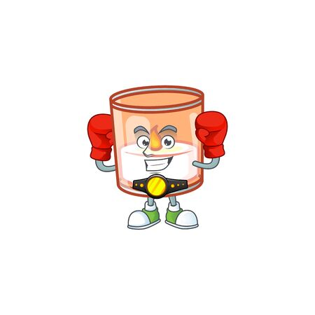 Funny Boxing candle in glass cartoon character style. Vector illustration Archivio Fotografico - 134765415