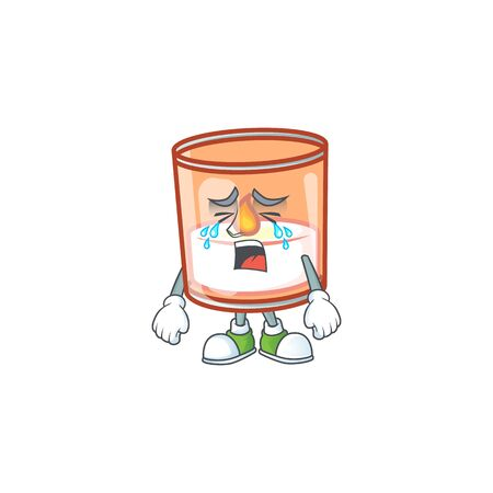 Sad Crying candle in glass cartoon character design style. Vector illustration