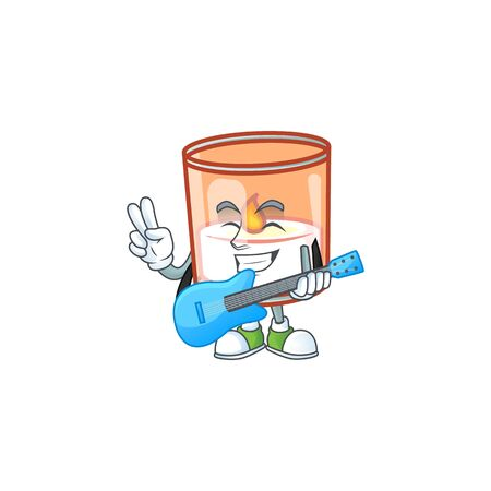 Super cool candle in glass cartoon character performance with guitar. Vector illustration Иллюстрация