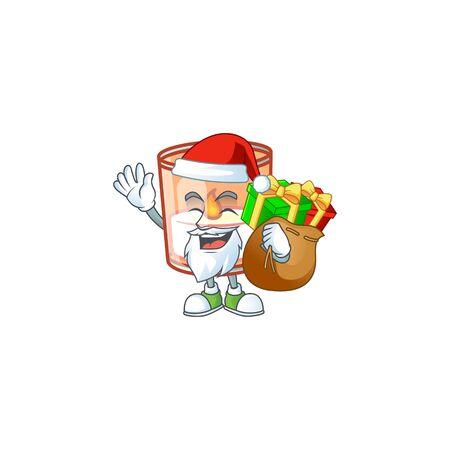 Santa with gift bag candle in glass Cartoon character design. Vector illustration Illusztráció