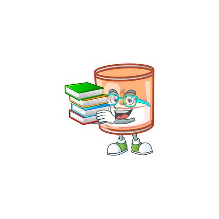 Student with book candle in glass mascot cartoon character style. Vector illustration