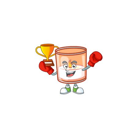 Super cool Boxing winner candle in glass in mascot cartoon style. Vector illustration