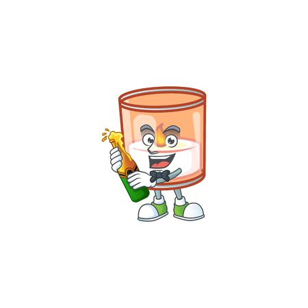Cool candle in glass with beer mascot cartoon style. Vector illustration