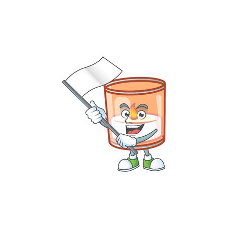 cute flag standing with candle in glass cartoon character style. Vector illustration