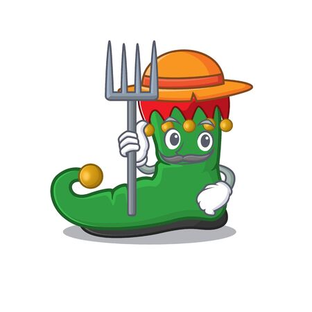 Farmer elf shoes cartoon character with hat and tools