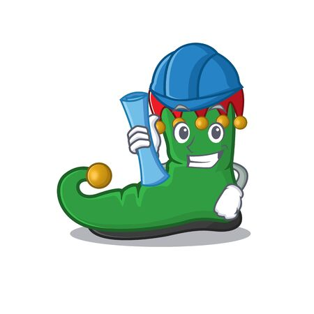 Cheerful Architect elf shoes cartoon style holding blue prints