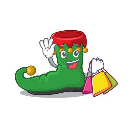 Cheerful elf shoes cartoon character waving and holding Shopping bag