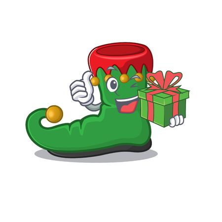 mascot cartoon of happy elf shoes with gift box