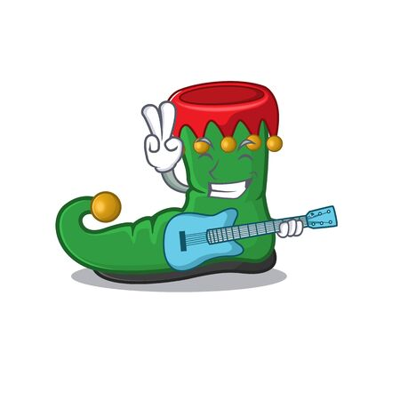 Super cool elf shoes cartoon character performance with guitar
