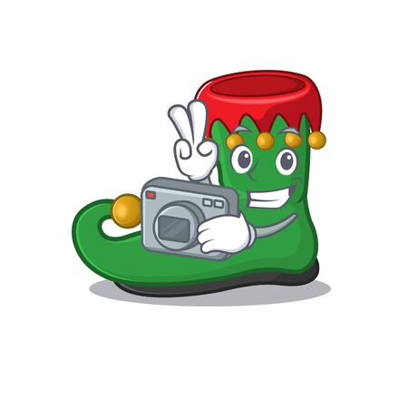 a professional Photographer elf shoes cartoon character with a camera