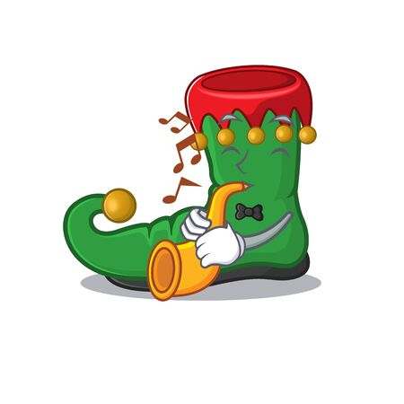 Super cool elf shoes cartoon character performance with trumpet