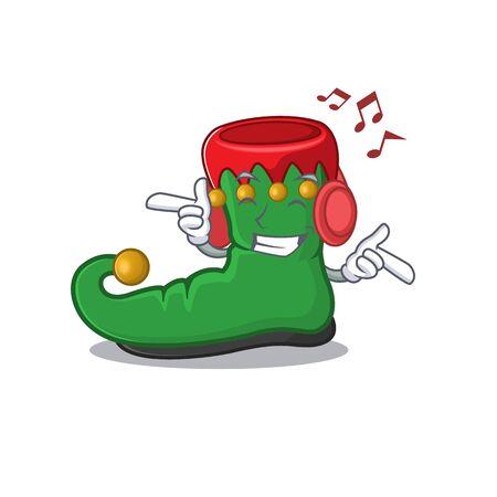 Listening music elf shoes mascot cartoon character design